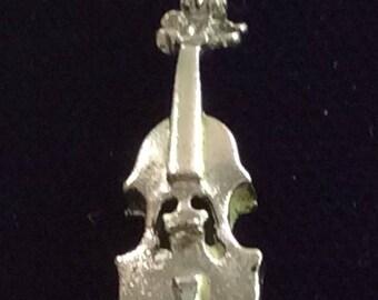 Sterling silver violin charm vintage # 101s