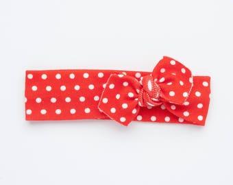 Red Polkadot Organic Baby Headband / Baby Headband / Baby Gift / Newborn Headband / Headbands / Infant Headband / Baby Headwrap / Baby Bows