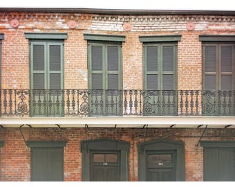 New Orleans photography, French Quarter balcony, travel photography, Louisiana wall art, NOLA, wrought iron work, shutters, brick work