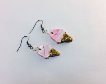 Ice Cream Earrings, drop earrings, ice cream cone, glitter, Christmas gifts, ice cream party, sparkles, stocking stuffers, cute, gold