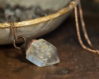 Pendant with mountain crystal tip/rough/raw Quartz