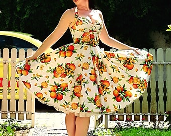 Pinop dress 'Orange grove' citrus shelf bust rockabilly dress