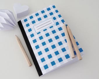 A6 notebook with blue gingham print