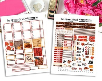 Thanksgiving | Mini Happy Planner | Printable Planner Stickers | Planner Printables | Printables | Thanksgiving | Weekly | Glitter