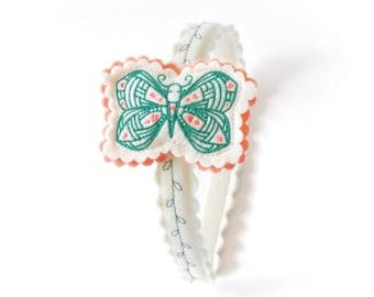 Butterfly Headband  / Wool Felt Headband / Woodland Accessory / Girl's Felt Headband / Hair Accessory / Embroidered Headband