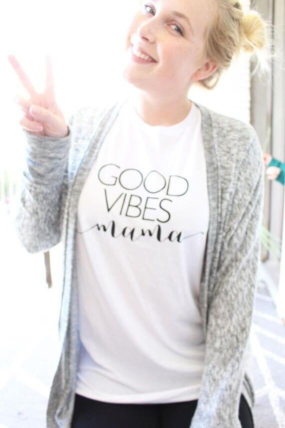 GOOD VIBES MAMA, White Boyfriend Tee, Good Vibes, Good Vibes Mama Tee, Good Vibes Mama Shirt, Good Vibes Mama Tshirt