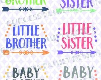 Bundle 6 pack Big Brother Little Brother Big Sister Little Sister Baby Brother Baby Sister New Baby Sibl