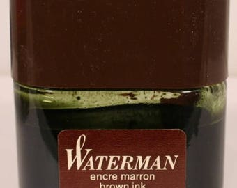 Waterman Brown Ink Bottle v0600 France Marron Glass Vintage Fountain Pen Ink Bottle Antique Collectible