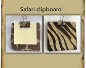 Giraffe or Zebra mini clipboard | party bag filler | sticky notes | notepad | stocking filler | charity | clipboard | memo