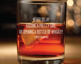 Rocks glass w/ Ernest Hemingway  Quote Set of 2 - Ernest Hemingway, inspirational quote, Hemingway quotes, whiskey glasses, whiskey glass