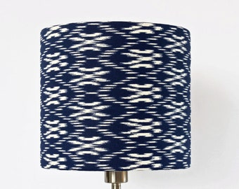Lampshade Blue and White, Thanskgiving Christmas Gift, Geometric Abstract Pattern, Ikat print in Japanese Style, decorative, contemporary