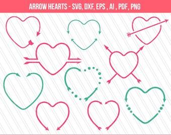 Arrow heart svg | Heart svg |svg cutting files | Heart clipart | valentine's heart | Heart monogram svg| Cricut | eps,dxf,ai,svg,pdf,png