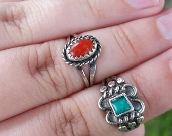 Vintage Sterling Silver Navajo Ring Set