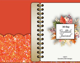 30 Days of Gratitude Digital Journal for Goodnotes, Orange Sparkles