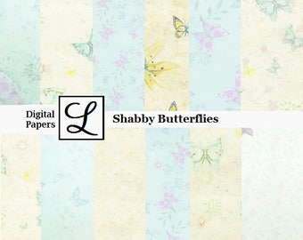SALE 50% OFF - Shabby Butterfly, gorgeous digi (digital) papers for scrapbooking and card making  - instant download in PDF format.
