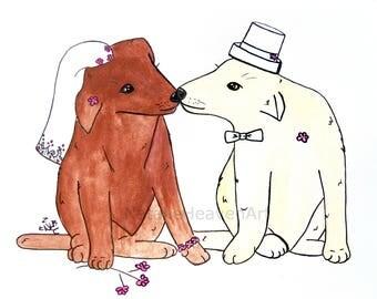 Dog Wedding Gift, Cute Bride and Groom Gift, Animal Wedding Present, Country Wedding Keepsake, Cream Anniversary Gift, Wedding Shower Gift