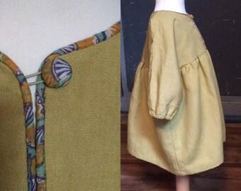 Little Bohemian, mustard yellow linen dress