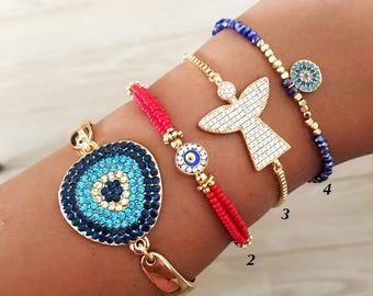 Adjustable bracelet, evil eye bracelet, gold bracelet, seed beads bracelet, evil eye charm bracelet, evil eye jewelry collection, red miyuki