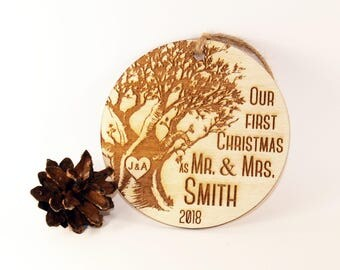 Personalized Our first Christmas ornament, Just married ornament, Wedding ornament, Newlywed ornament, Mr and Mrs ornament, Wood ornament