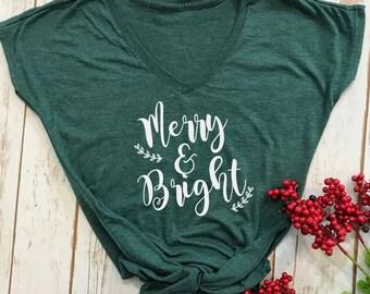 Merry and Bright tshirt- christmas tshirt- womens christmas shirt- holiday shirt- christmas shirt- funny christmas tshirt- christmas gift-