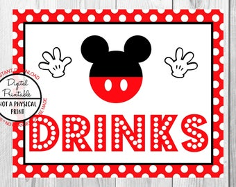 "Drinks Sign, Mickey Mouse Birthday Party Sign, 8""x10"" Printable, Instant Download"