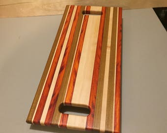 CBA-1127 Serving Board of solid hardwoods. a piece of art, FREE SHIPPING, Edge grain cutting board and serving tray, gift for all occasions