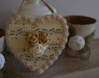 Wooden heart decorative music paper roses fabric and lace - heart hanging - wall - hanging heart.