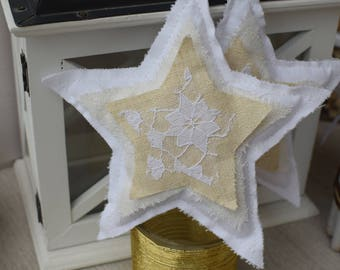 Stars shabby white fabric and lace - star fabric - shabby - fabric star decoration