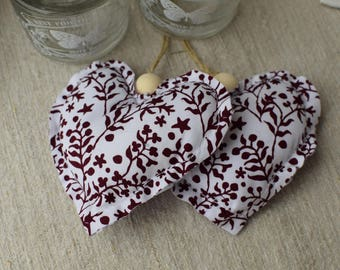 Hearts door floral fabric cushion - decorative hearts - set of two - fabric heart - floral hearts - hearts to hang