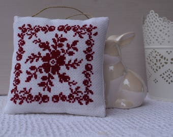 Pillow of door cross-stitched - embroidery flower - decorative cushion - cross stitch Embroidery-