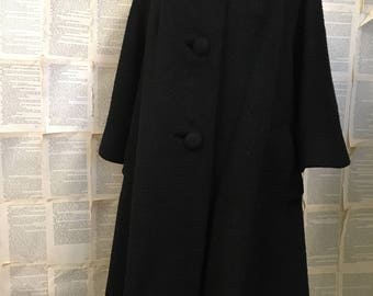 Vintage 1950/1960 Lilli Ann Black Swing Coat
