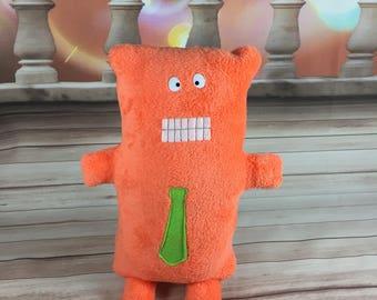 Gentleman Monster - Stuffed Animal -Pillow - Necktie - Silly Eyes - Bright Orange - Soft - Cuddly - Neon
