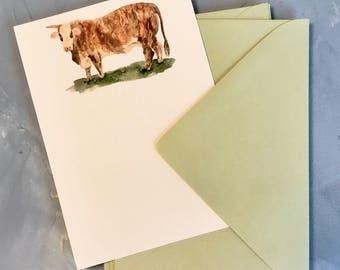 Watercolor Cow Note Card Stationery with Sage Envelopes