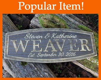 Rustic last name sign 5th anniversary gift Distressed established sign Last name wall decor Wedding date signs Wood marriage gift