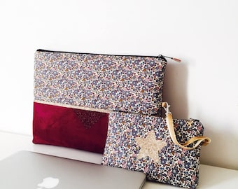 Sleeve MacBook 13.3 inch suede Burgundy, gold glitter and liberty of London Betsy Ann