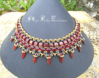 Beading pattern, beading tutorial, beading instructions, beaded necklace, necklace, beads, tutorial patterns Nefertari beads, necklace