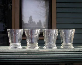 Set of Vintage French Napoleonic Bee Drinking Glasses 8 Ounce Drinkware Set of Four Tumblers