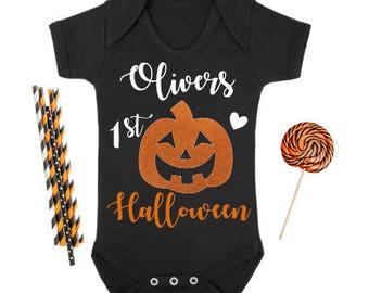 Baby Personalised Pumpkin 1st Halloween bodysuit/ vest