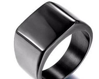 Men's Total Black Square Stainless Steel Ring