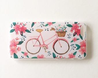 Flower & Bike iphone case, iPhone 7, 6s, 6, Plus, 8, X , TPU clear case, flowers, Bike