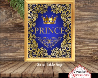Royal Prince Table Sign | Table Sign | Prince  | Birthday Party or Baby Shower | Digital File | Gold Flourish