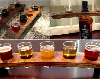 Perfect MANCAVE Gift ~ Whiskey Stave Beer Flights and Shot Glass Flights