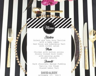 Printable Wedding Menu.