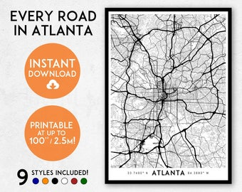Atlanta map print, Printable Atlanta map art, Atlanta print, Atlanta art, Atlanta poster, Atlanta wall art, Atlanta city, Georgia map print