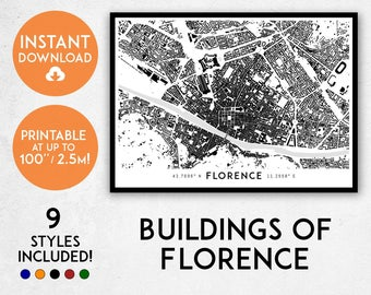 Florence map print, Printable Firenze map art, Firenze print, Tuscany print, Italy map, Florence art, Florence poster, Florence wall art