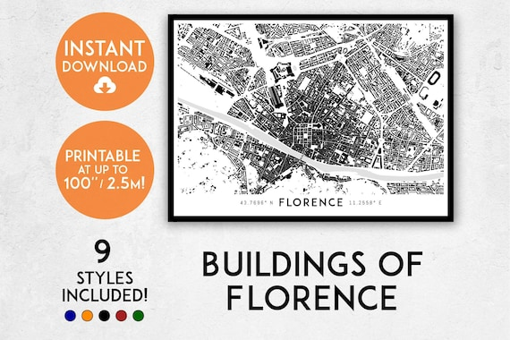Florence Map Print Printable Firenze Map Art Firenze Print - Printable map of tuscany
