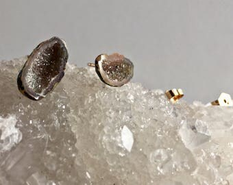 Raw Geode Studs / Quartz Druzy Crystal Point Earrings in Gold fill and Sterling Silver Tiny Crystals