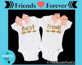 Girl Twins, Best Friend Gift, Best Friend Shirt, Twin Baby Gift, Twin Costume, Twin Girl Outfits, Twin Girl Outfit, Twin Girl Newborn, Gift