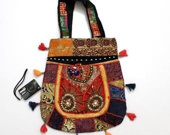 Handmade Ethnic Designer Tribal Banjara Patchwork Embroidered Hippy Fashionable Stylish Trendy Hippie Gypsy Boho Bohemian Carry Bag I207