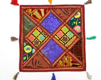 Handmade Hippie Gypsy Home Decor Ethnic Multi color Embroidered Hippy Patchwork Bohemian Pillow Shams Couch Cushion Cover Case G775